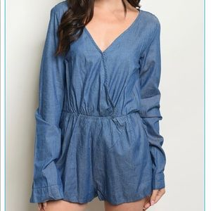 LONG SLEEVE CHAMBRAY ROMPERS W CROCHET DETAIL BACK